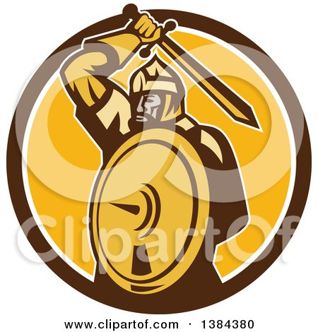 Clipart of a Retro Mongol Horde Barbarian Warrior Holding a Sword and Shield in a Brown White and Yellow Circle - Royalty Free Vector Illustration by patrimonio