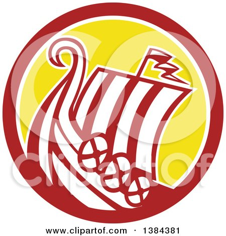 Clipart of a Retro Medieval Viking Ship Longboat in a Brown White and Yellow Circle - Royalty Free Vector Illustration by patrimonio