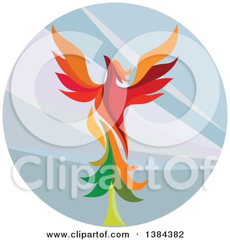 Clipart of a Retro Colorful Flying Phoenix Bird over a Circle - Royalty Free Vector Illustration by patrimonio
