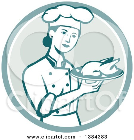 Clipart of a Retro Female Chef Holding a Roasted Chicken on a Plate in a Circle - Royalty Free Vector Illustration by patrimonio