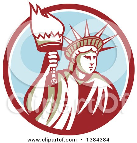 Clipart of a Retro Statue of Liberty Holding a Torch in a Maroon White and Blue Circle - Royalty Free Vector Illustration by patrimonio