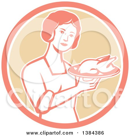Clipart of a Retro Housewife Holding a Roasted Chicken on a Plate in a Pink White and Tan Circle - Royalty Free Vector Illustration by patrimonio