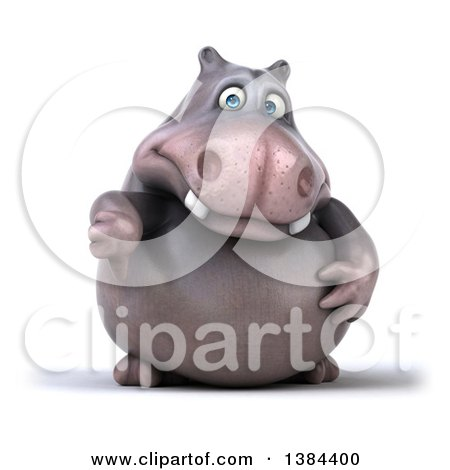 Clipart of a 3d Henry Hippo Character Giving a Thumb Down, on a White Background - Royalty Free Illustration by Julos
