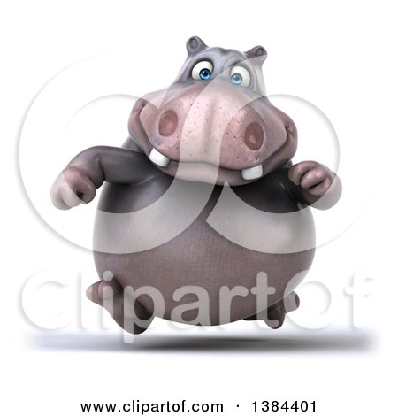 Clipart of a 3d Henry Hippo Character Running, on a White Background - Royalty Free Illustration by Julos