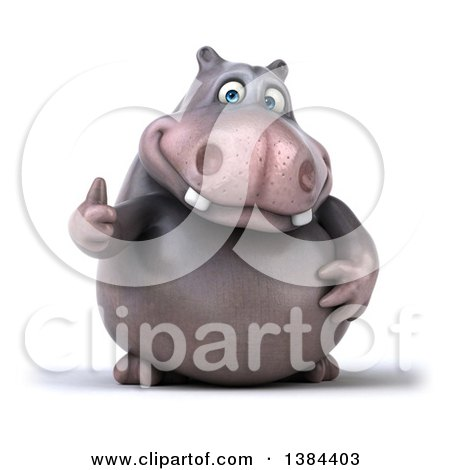 Clipart of a 3d Henry Hippo Character Giving a Thumb Up, on a White Background - Royalty Free Illustration by Julos