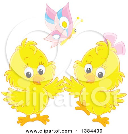 Clipart of a Butterfly over Two Yellow Spring Chicks - Royalty Free Vector Illustration by Alex Bannykh