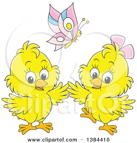 Clipart of a Cartoon Butterfly over Two Spring Chicks - Royalty Free Vector Illustration by Alex Bannykh