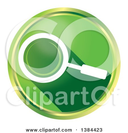 Clipart of a Round Green Magnifying Glass Website Search Icon Button, on a White Background - Royalty Free Illustration by MacX