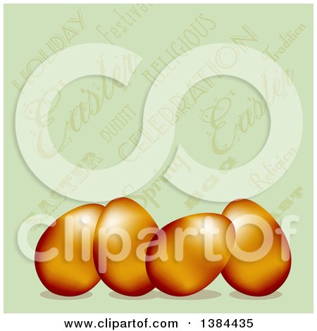 Clipart of 3d Gold Easter Eggs over a Vintage Green Text Background - Royalty Free Vector Illustration by elaineitalia