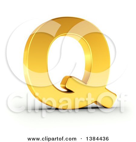 Clipart of a 3d Golden Capital Letter Q, on a Shaded White Background, with Clipping Path - Royalty Free Illustration by stockillustrations