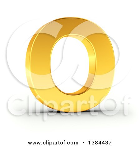 Clipart of a 3d Golden Capital Letter O, on a Shaded White Background, with Clipping Path - Royalty Free Illustration by stockillustrations