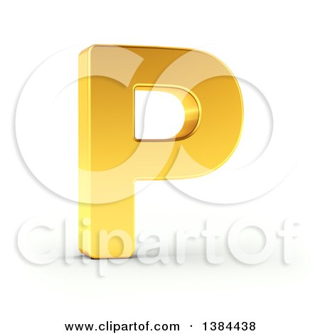 Clipart of a 3d Golden Capital Letter P, on a Shaded White Background, with Clipping Path - Royalty Free Illustration by stockillustrations
