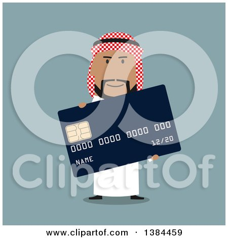 Clipart of a Flat Design Arabian Business Man Holding a Credit Card, on Blue - Royalty Free Vector Illustration by Vector Tradition SM