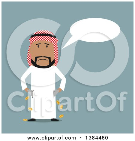 Clipart of a Flat Design Broke Arabian Business Man Turning out His Pockets, on Blue - Royalty Free Vector Illustration by Vector Tradition SM