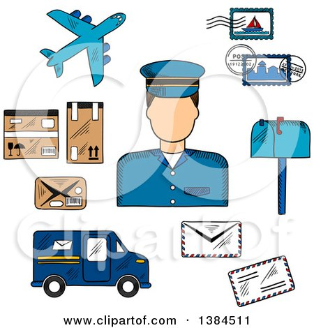 Clipart of a Sketched Postman with Postage Stamps and Letterbox, Packages and Van, Airplane and Letters - Royalty Free Vector Illustration by Vector Tradition SM