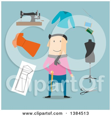 Clipart of a Flat Design White Male Tailor and Accessories, on Blue - Royalty Free Vector Illustration by Vector Tradition SM