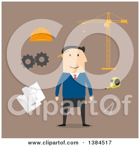 Clipart of a Flat Design White Male Engineer and Accessories, on Brown - Royalty Free Vector Illustration by Vector Tradition SM