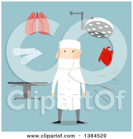 Clipart of a Flat Design White Male BLANK and Accessories, on Blue - Royalty Free Vector Illustration by Vector Tradition SM