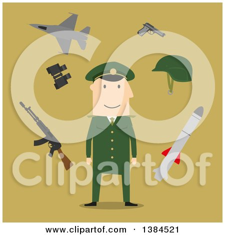 Clipart of a Flat Design White Male Army Soldier and Accessories, on Green - Royalty Free Vector Illustration by Vector Tradition SM
