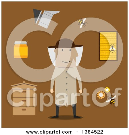 Clipart of a Flat Design White Male Beekeeper and Accessories, on Brown - Royalty Free Vector Illustration by Vector Tradition SM