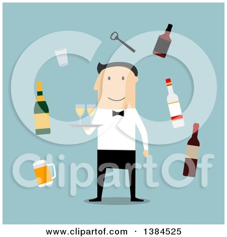 Clipart of a Flat Design White Male Waiter and Accessories, on Blue - Royalty Free Vector Illustration by Vector Tradition SM
