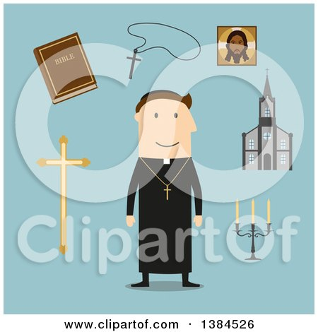 Clipart of a Flat Design White Male Priest and Accessories, on Blue - Royalty Free Vector Illustration by Vector Tradition SM
