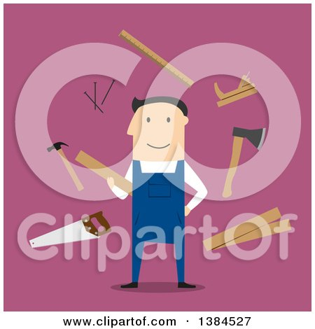 Clipart of a Flat Design White Male Carpenter and Accessories, on Pink - Royalty Free Vector Illustration by Vector Tradition SM