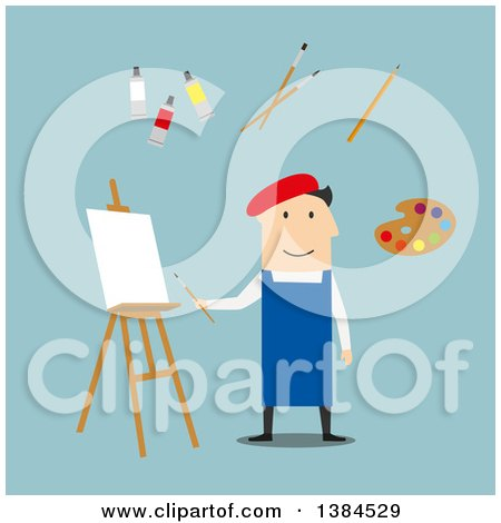 Clipart of a Flat Design White Male Artist and Accessories, on Blue - Royalty Free Vector Illustration by Vector Tradition SM