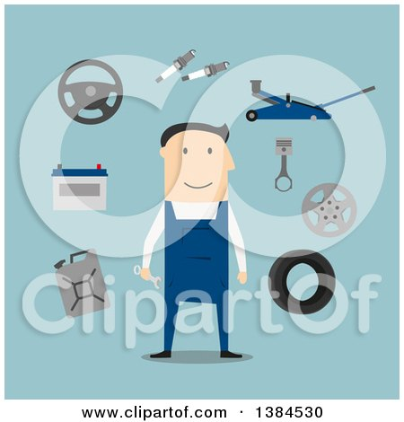 Clipart of a Flat Design White Male Mechanic with Equipment on Blue - Royalty Free Vector Illustration by Vector Tradition SM