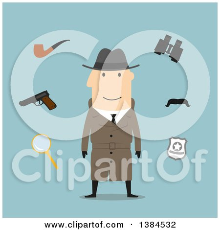 Clipart of a Flat Design White Male Detective and Accessories, on Blue - Royalty Free Vector Illustration by Vector Tradition SM