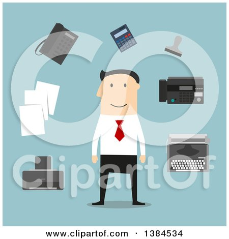 Clipart of a Flat Design White Male Businessman and Accessories, on Blue - Royalty Free Vector Illustration by Vector Tradition SM