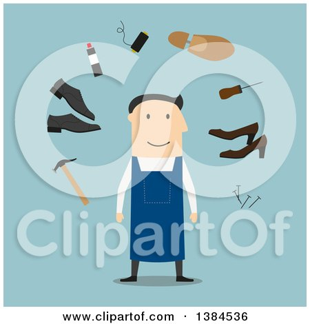 Clipart of a Flat Design White Male Cobbler and Accessories, on Blue - Royalty Free Vector Illustration by Vector Tradition SM