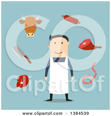 Clipart of a Flat Design White Male Butcher and Accessories, on Blue - Royalty Free Vector Illustration by Vector Tradition SM