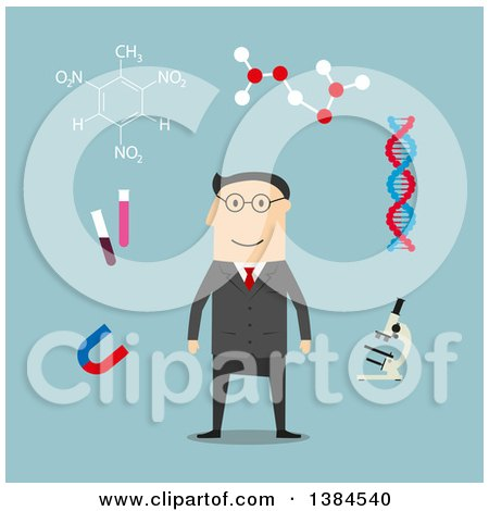 Clipart of a Flat Design White Male Scientist and Accessories, on Blue - Royalty Free Vector Illustration by Vector Tradition SM