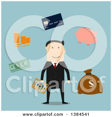 Clipart of a Flat Design White Male Banker and Accessories, on Blue - Royalty Free Vector Illustration by Vector Tradition SM
