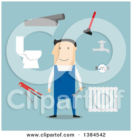 Clipart of a Flat Design White Male Plumber and Accessories, on Blue - Royalty Free Vector Illustration by Vector Tradition SM