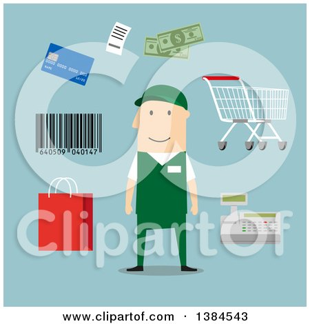 Clipart of a Flat Design White Male Store Worker and Accessories, on Blue - Royalty Free Vector Illustration by Vector Tradition SM