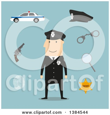 Clipart of a Flat Design White Male Police Officer and Accessories, on Blue - Royalty Free Vector Illustration by Vector Tradition SM