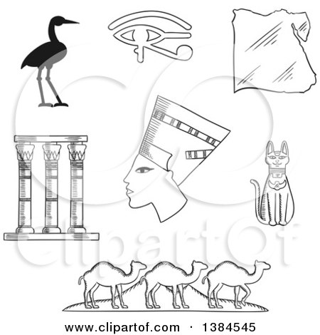 Clipart of Black and White Sketched Egyptian Icons of Queen Nefertiti, Cat Goddess and Sacred Heron Bennu, Eye of Horus Symbol and Temple Columns, Map, Caravan of Camels and Giza Pyramids - Royalty Free Vector Illustration by Vector Tradition SM