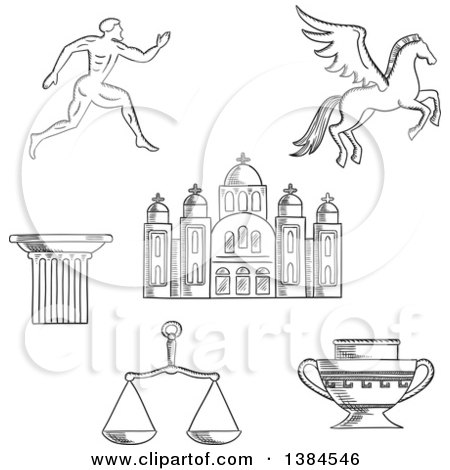 Clipart of a Black and White Sketched Greek Runner, Capital on a Column, Pegasus and Amphora, Scales and Temple - Royalty Free Vector Illustration by Vector Tradition SM