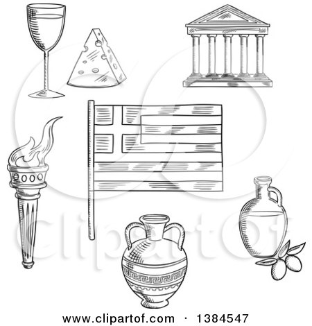 Clipart of a Black and White Sketched Greek Flag, Parthenon Temple and Ancient Amfora, Torch with Flame and Olive Oil, Wine and Cheese - Royalty Free Vector Illustration by Vector Tradition SM