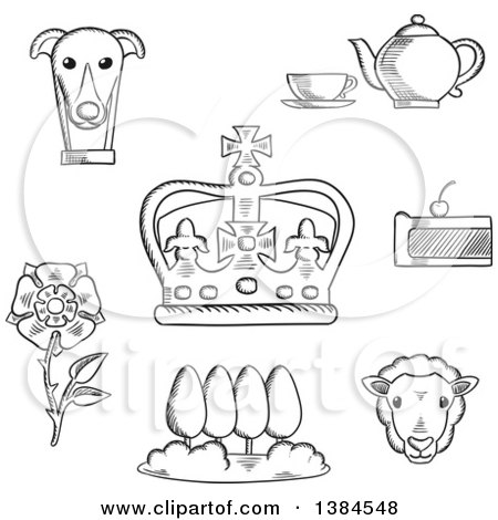 Clipart of a Black and White England Heraldic Tudor Rose and Park, Royal Dog and Tea Set, Pie, Sheep and Emperor Crown - Royalty Free Vector Illustration by Vector Tradition SM