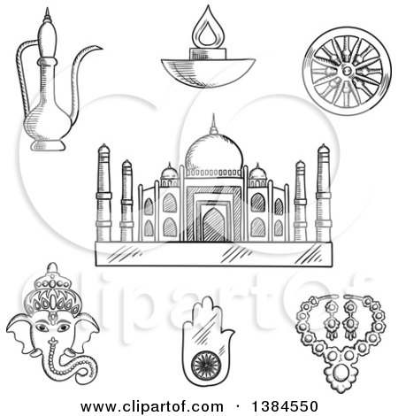Clipart of a Black and White Sketched Indian Ganesha God and Element Ashoka Chakra Wheel, Hamsa Hand Amulet and Brass Teapot, Ethnic Jewelry, Diwali Lamp and Taj Mahal - Royalty Free Vector Illustration by Vector Tradition SM
