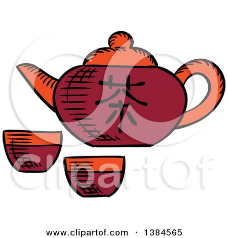 Clipart of a Sketched Asian Tea Pot - Royalty Free Vector Illustration by Vector Tradition SM