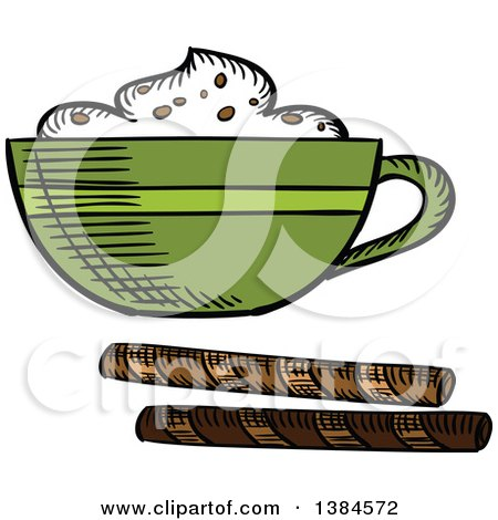 Clipart of a Sketched Frothy Coffee - Royalty Free Vector Illustration by Vector Tradition SM