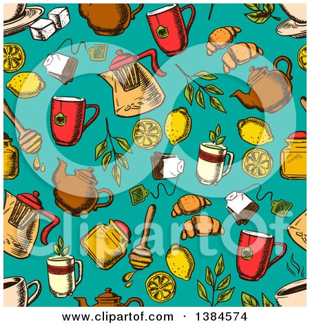 Clipart of a Seamless Background Pattern of Sketched Herbal Tea and Accessories on Turquoise - Royalty Free Vector Illustration by Vector Tradition SM