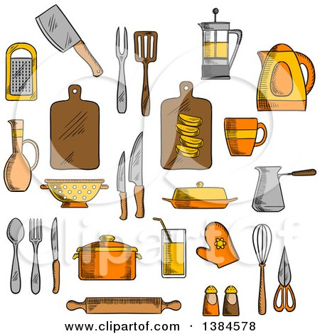 Clipart of Sketched Kitchen Items - Royalty Free Vector Illustration by Vector Tradition SM