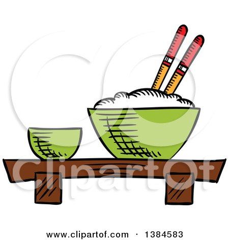 Clipart of a Sketched Bowl of Rice - Royalty Free Vector Illustration by Vector Tradition SM