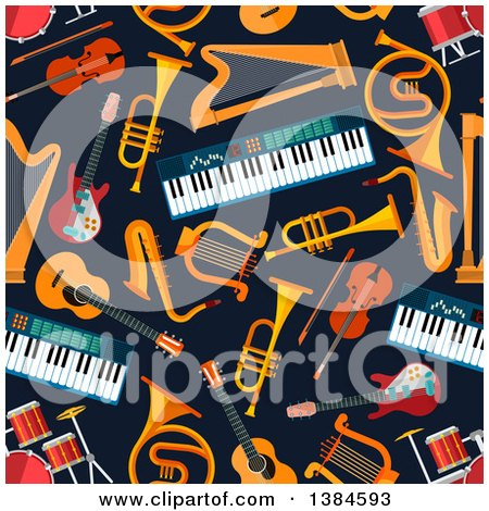 Clipart of a Seamless Background Pattern of Musical Instruments on Navy Blue - Royalty Free Vector Illustration by Vector Tradition SM