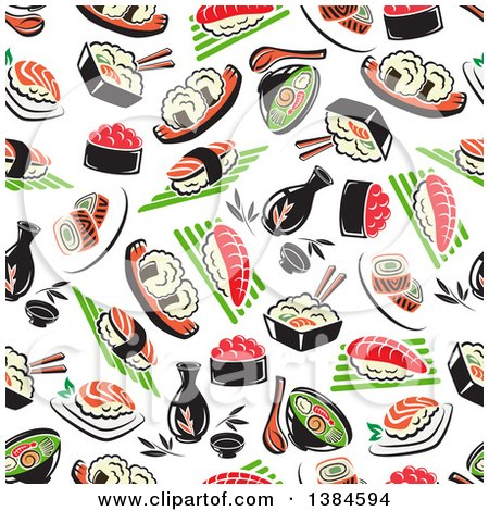 Clipart of a Seamless Background Pattern of Sushi - Royalty Free Vector Illustration by Vector Tradition SM